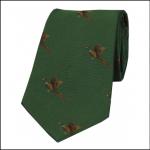 Soprano Flying Pheasants on Green Ground Country Silk Tie