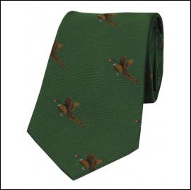 Soprano Flying Pheasants on Green Ground Country Silk Tie 1