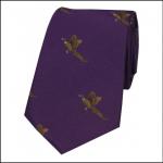 Soprano Flying Pheasants on Purple Ground Country Silk Tie