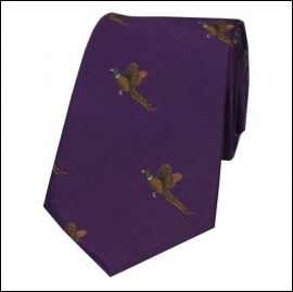 Soprano Flying Pheasants on Purple Ground Country Silk Tie