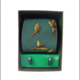 Soprano Forest Green Pheasant Country Silk Tie & Cufflink Gift Set 1