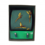 Soprano Forest Green Pheasant Country Silk Tie & Cufflink Gift Set