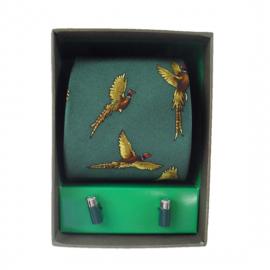 Soprano Forest Green Pheasant Country Silk Tie & Cufflink Gift Set
