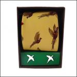 Soprano Gold Pheasant Silk Tie & Cufflink Gift Set