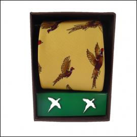 Soprano Gold Pheasant Country Silk Tie & Cufflink Gift Set 1