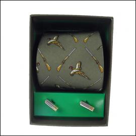 Soprano Green Pheasant & Shotgun Country Silk Tie & Cufflink Gift Set 1