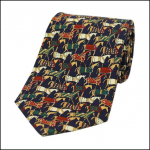 Soprano Jousting Medieval Horses Navy Country Silk Tie