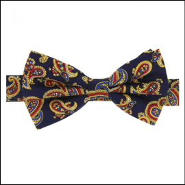 Soprano Luxury Edwardian Navy Paisley Bow Tie