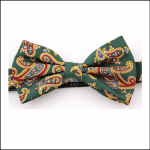 Soprano Luxury Edwardian Forest Green Paisley Bow Tie