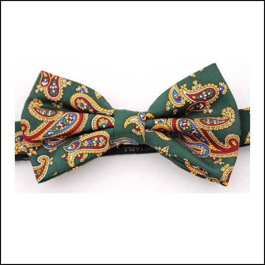 Soprano Luxury Edwardian Paisley Forest Green Bow Tie