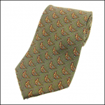 Soprano Standing Partridge Country Green Check Silk Tie
