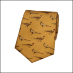 Soprano Standing Pheasants Mustard Country Silk Tie