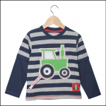 Tractor Ted Long Sleeve Stripey Top Navy-Grey 1