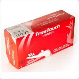 True Touch Lightly Powdered Latex Safety Gloves 1
