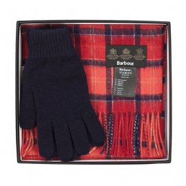 Barbour Red Scarf and Glove Gift Box