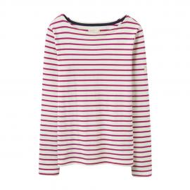 Joules Harbour Jersey Top Dark Pink Stripe