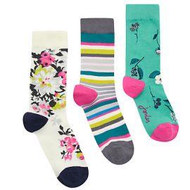 Joules Brilliant Bamboo 3pk Floral Socks