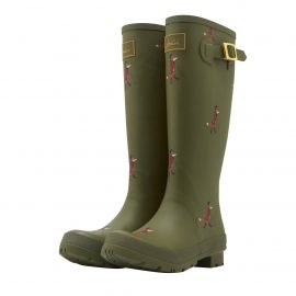 Joules Green Fox Print Tall Wellington Boot
