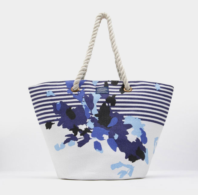 Joules Bright White Floral Stripe Summer Bag 1