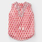 Joules Otille Soft Coral Ikat Sleeveless Top 1