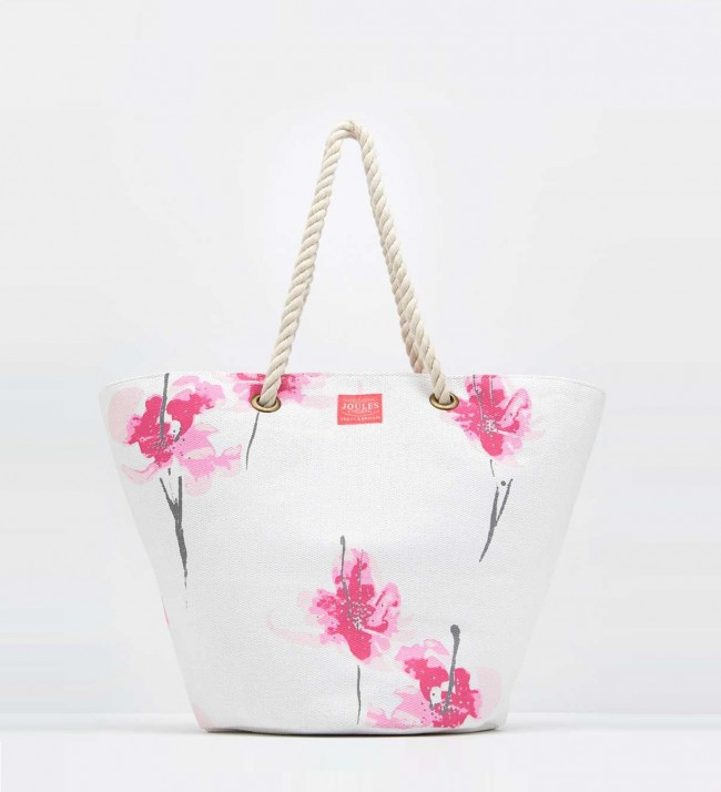 Joules Bright White Orchid Summer Bag 1