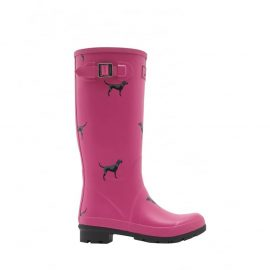 Joules Pink Labrador Print Wellington Boots