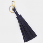 Joules Navy Tassel Faux Leather Keyring