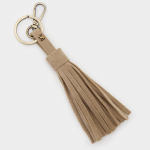 Joules Taupe Tassel Faux Leather Keyring