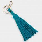 Joules Soft Teal Tassel Faux Leather Keyring